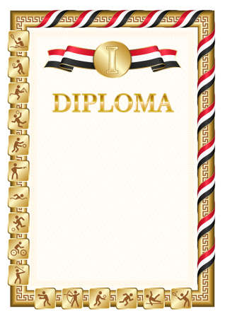 Vertical diploma for first place in a sports competition, golden color with a ribbon the color of the flag of Egypt. Vector image.