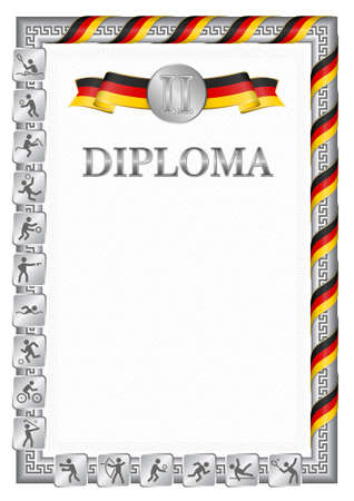Vertical diploma for second place in a sports competition, silver color with a ribbon the color of the flag of Germany. Vector image. 일러스트