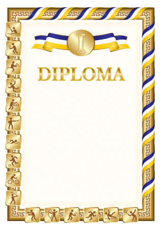 Vertical diploma for first place in a sports competition, golden color with a ribbon the color of the flag of Buryatia. Vector image.