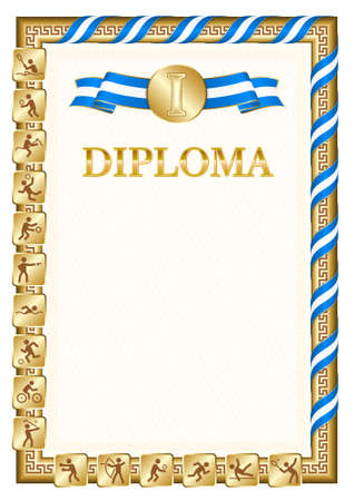 Vertical diploma for first place in a sports competition, golden color with a ribbon the color of the flag of Honduras. Vector image.