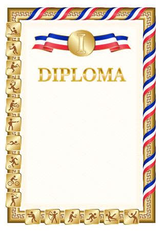 Vertical diploma for first place in a sports competition, golden color with a ribbon the color of the flag of France. Vector image.