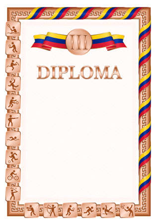 Vertical diploma for third place in a sports competition, bronze color with a ribbon the color of the flag of Venezuela. Vector image.