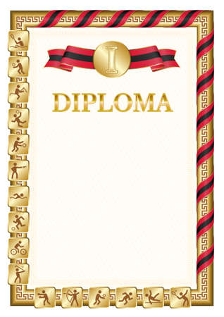 Vertical diploma for first place in a sports competition, golden color with a ribbon the color of the flag of Trinidad and Tobago. Vector image. 일러스트