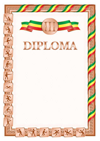 Vertical diploma for third place in a sports competition, bronze color with a ribbon the color of the flag of Senegal. Vector image. 일러스트