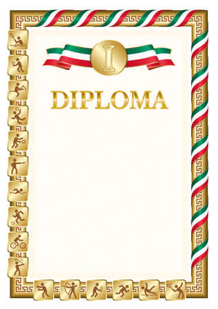 Vertical diploma for first place in a sports competition, golden color with a ribbon the color of the flag of Mexico. Vector image.