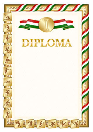 Vertical diploma for first place in a sports competition, golden color with a ribbon the color of the flag of Tajikistan. Vector image.