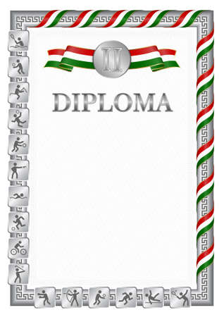 Vertical diploma for second place in a sports competition, silver color with a ribbon the color of the flag of Tajikistan. Vector image.