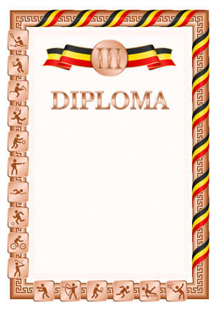 Vertical diploma for third place in a sports competition, bronze color with a ribbon the color of the flag of Uganda. Vector image.