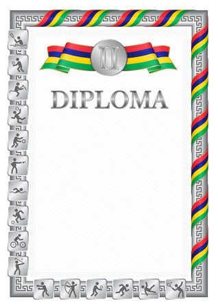 Vertical diploma for second place in a sports competition, silver color with a ribbon the color of the flag of Mauritius. Vector image. 일러스트