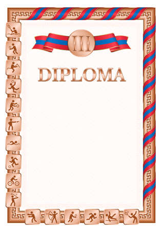 Vertical diploma for third place in a sports competition, bronze color with a ribbon the color of the flag of Mongolia. Vector image.