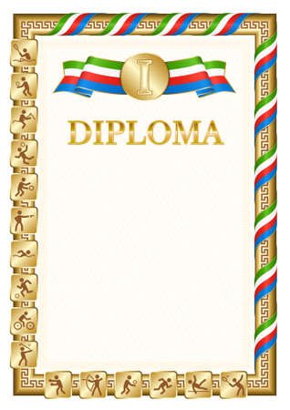 Vertical diploma for first place in a sports competition, golden color with a ribbon the color of the flag of Equatorial Guinea. Vector image. 일러스트