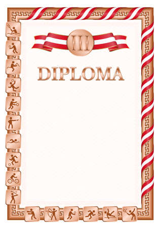 Vertical diploma for third place in a sports competition, bronze color with a ribbon the color of the flag of Peru. Vector image.