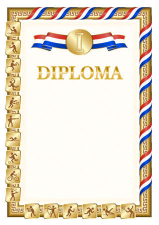Vertical diploma for first place in a sports competition, golden color with a ribbon the color of the flag of Paraguay. Vector image.
