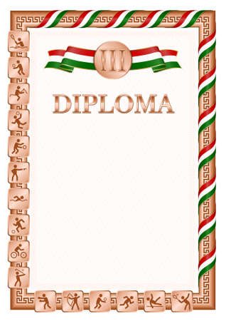 Vertical diploma for third place in a sports competition, bronze color with a ribbon the color of the flag of Tajikistan. Vector image.