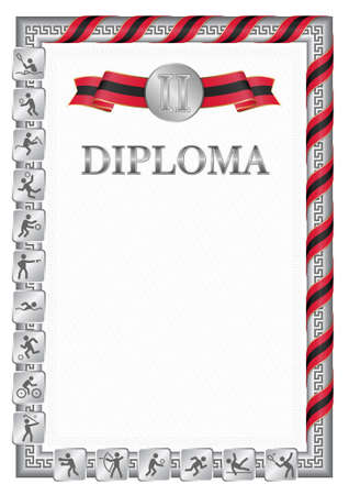 Vertical diploma for second place in a sports competition, silver color with a ribbon the color of the flag of Trinidad and Tobago. Vector image. 일러스트