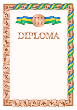 Vertical diploma for third place in a sports competition, bronze color with a ribbon the color of the flag of Saint Vincent and the Grenadines. Vector image.
