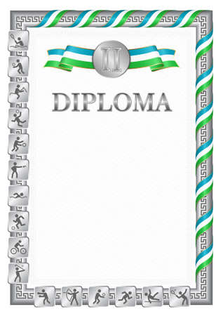 Vertical diploma for second place in a sports competition, silver color with a ribbon the color of the flag of Uzbekistan. Vector image. 일러스트