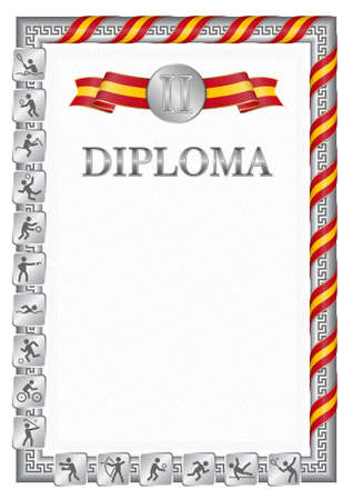 Vertical diploma for second place in a sports competition, silver color with a ribbon the color of the flag of Spain. Vector image. 일러스트