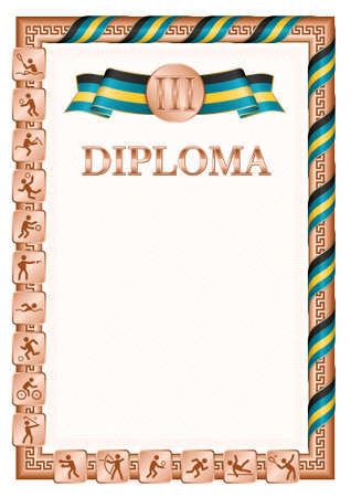 Vertical diploma for third place in a sports competition, bronze color with a ribbon the color of the flag of Bahamas. Vector image.