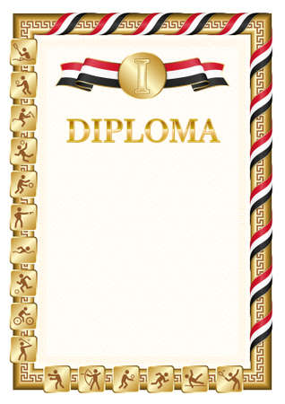 Vertical diploma for first place in a sports competition, golden color with a ribbon the color of the flag of Yemen. Vector image.