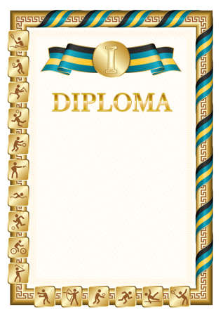 Vertical diploma for first place in a sports competition, golden color with a ribbon the color of the flag of Bahamas. Vector image.