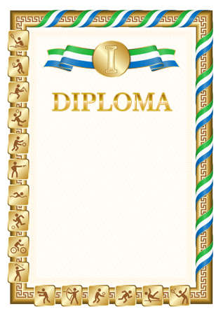 Vertical diploma for first place in a sports competition, golden color with a ribbon the color of the flag of Sierra Leone. Vector image. 일러스트
