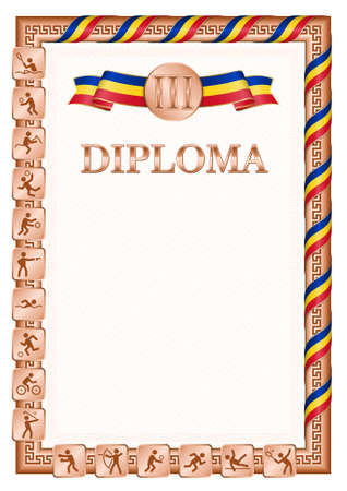 Vertical diploma for third place in a sports competition, bronze color with a ribbon the color of the flag of Romania. Vector image. 일러스트