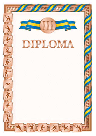 Vertical diploma for third place in a sports competition, bronze color with a ribbon the color of the flag of Sweden. Vector image.