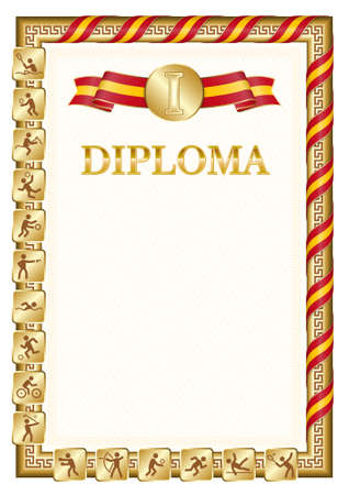 Vertical diploma for first place in a sports competition, golden color with a ribbon the color of the flag of Spain. Vector image.