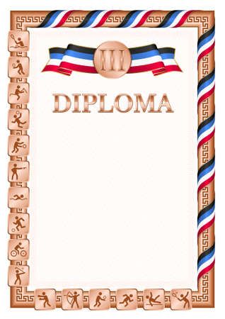 Vertical diploma for third place in a sports competition, bronze color with a ribbon the color of the flag of Antigua and Barbuda. Vector image. 일러스트