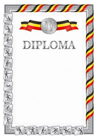 Vertical diploma for second place in a sports competition, silver color with a ribbon the color of the flag of Uganda. Vector image.