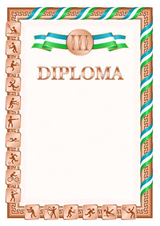Vertical diploma for third place in a sports competition, bronze color with a ribbon the color of the flag of Uzbekistan. Vector image.