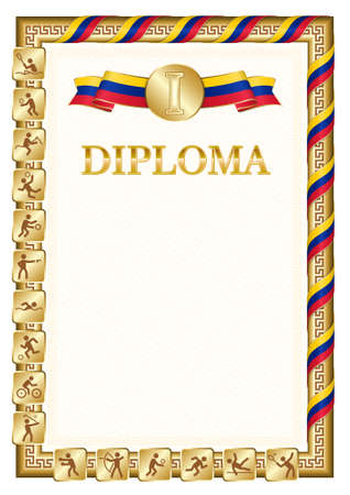 Vertical diploma for first place in a sports competition, golden color with a ribbon the color of the flag of Venezuela. Vector image.