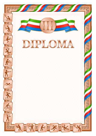 Vertical diploma for third place in a sports competition, bronze color with a ribbon the color of the flag of Equatorial Guinea. Vector image.