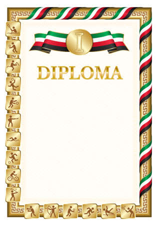 Vertical diploma for first place in a sports competition, golden color with a ribbon the color of the flag of Kuwait. Vector image.