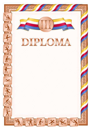 Vertical diploma for third place in a sports competition, bronze color with a ribbon the color of the flag of Comoros. Vector image.