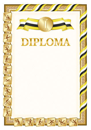 Vertical diploma for first place in a sports competition, golden color with a ribbon the color of the flag of Brunei. Vector image.