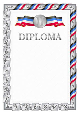 Vertical diploma for second place in a sports competition, silver color with a ribbon the color of the flag of Dominica. Vector image. 일러스트