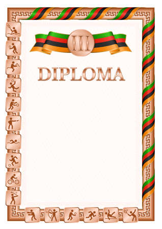 Vertical diploma for third place in a sports competition, bronze color with a ribbon the color of the flag of Zambia. Vector image.