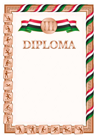 Vertical diploma for third place in a sports competition, bronze color with a ribbon the color of the flag of Sudan. Vector image. 일러스트