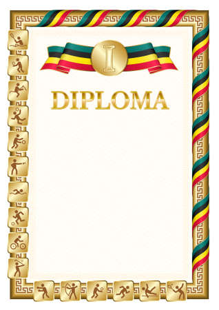 Vertical diploma for first place in a sports competition, golden color with a ribbon the color of the flag of Mozambique. Vector image. 일러스트