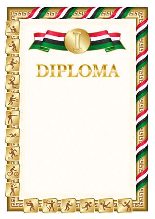 Vertical diploma for first place in a sports competition, golden color with a ribbon the color of the flag of Sudan. Vector image.