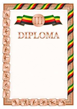Vertical diploma for third place in a sports competition, bronze color with a ribbon the color of the flag of Zimbabwe. Vector image.
