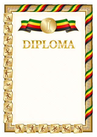 Vertical diploma for first place in a sports competition, golden color with a ribbon the color of the flag of Zimbabwe. Vector image.