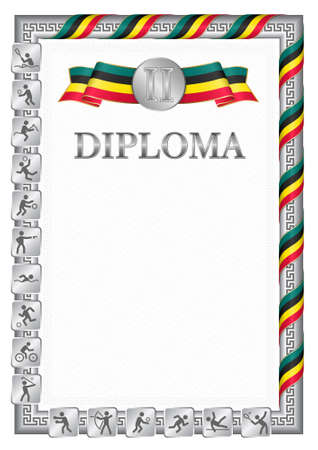 Vertical diploma for second place in a sports competition, silver color with a ribbon the color of the flag of Mozambique. Vector image. 일러스트