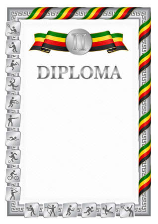 Vertical diploma for second place in a sports competition, silver color with a ribbon the color of the flag of Zimbabwe. Vector image.