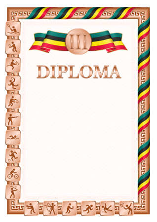 Vertical diploma for third place in a sports competition, bronze color with a ribbon the color of the flag of Mozambique. Vector image. 일러스트