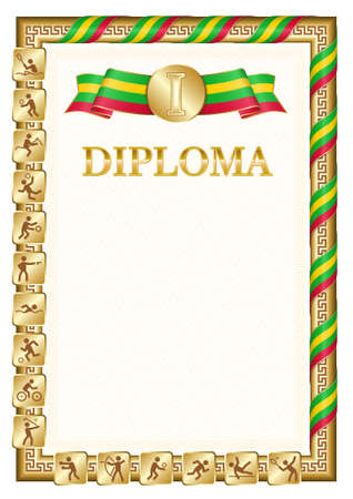 Vertical diploma for first place in a sports competition, golden color with a ribbon the color of the flag of Sao Tome and Principe. Vector image. 일러스트