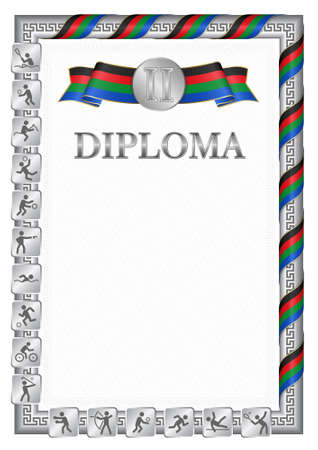 Vertical diploma for second place in a sports competition, silver color with a ribbon the color of the flag of South Sudan. Vector image.