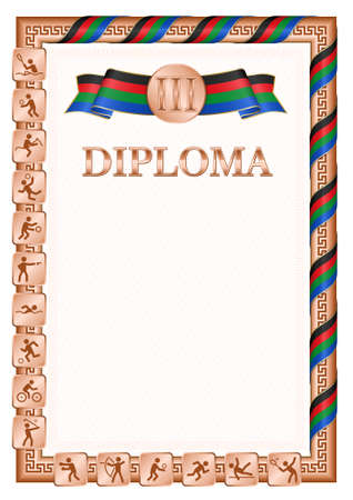 Vertical diploma for third place in a sports competition, bronze color with a ribbon the color of the flag of South Sudan. Vector image. 일러스트